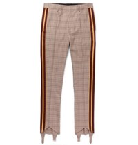 Stella Mccartney Webbing Trimmed Prince Of Wales Checked Wool And Cotton Blend Trousers Brown