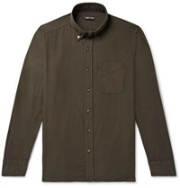 Tom Ford Slim Fit Button Down Collar Cotton And Cashmere Blend Shirt Green