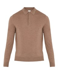 Paul Smith Long Sleeved Fine Knit Wool Polo Shirt Beige
