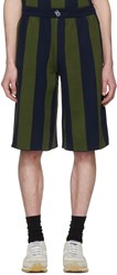 Sunnei Green And Navy Striped Shorts