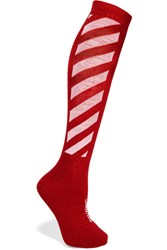 Off White Metallic Striped Cotton Blend Socks Red