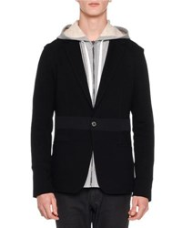 Lanvin Mixed Media Jersey Blazer Black