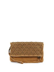 Ash Daisy Studded Suede Clutch Camel