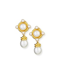 18K Pearl Earrings With Detachable Drop Elizabeth Locke