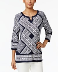 Jm Collection Studded Keyhole Tunic Only At Macy's Blue Grecian Geo