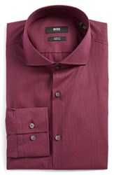 Boss Men's Big And Tall Jason Slim Fit Check Stretch Dress Shirt Dark Purple
