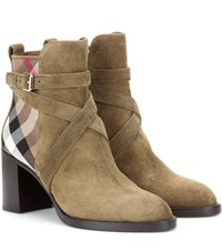 Burberry Suede Ankle Boots Green