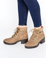 New Look Lace Up Ankle Biker Boots Brown