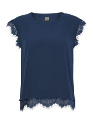 Y.A.S Shortsleeved Lace Trim Top Blue