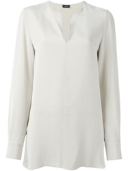 Joseph Longsleeved V Neck Blouse Nude And Neutrals