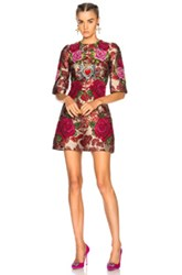 Dolce And Gabbana Floral Jacquard Embellished Mini Dress In Floral Red Floral Red