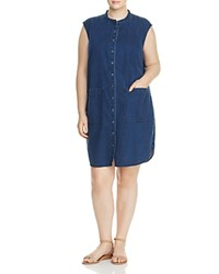 Eileen Fisher Plus Mandarin Collar Denim Dress Midnight