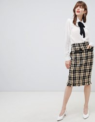 Darling Textured Checked Pencil Skirt Black Yellow