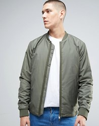 Selected Homme Bomber Jacket With Two Way Zip Dusty Olive Green