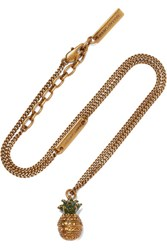Marc Jacobs Pineapple Gold Plated Crystal Necklace One Size