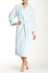 Casual Moments Shawl Collar Wrap Needle Out Trim Robe Blue