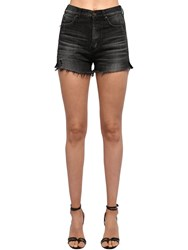 Saint Laurent High Waist Cotton Denim Shorts Washed Black