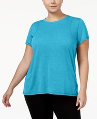 Calvin Klein Performance Plus Size Heathered Pleated Back T Shirt Wave