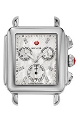 Michele Women's 'Deco' Diamond Dial Watch Case 33Mm X 35Mm Silver