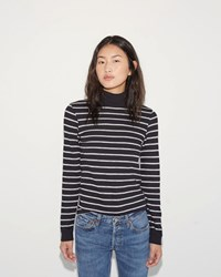 Re Done Mock Neck Stripe Tee Black