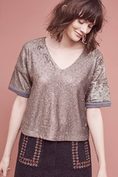 Deletta Katia Sequin T Shirt Gold