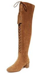 Michael Kors Harris Lace Up Over The Knee Boots Luggage