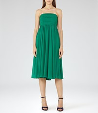 Reiss Athena Womens Strapless Layered Dress In Green