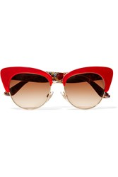 Dolce And Gabbana Cat Eye Gold Tone And Acetate Sunglasses Red