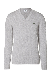 Lacoste Wool Cable Knit V Neck Pullover