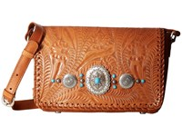 American West Lariat Love Crossbody Flap Bag Wallet Golden Tan Cross Body Handbags