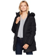 Marc New York By Andrew Astoria Down Filled Anorak With Faux Fur Trim Hood Patch Pockets Black Coat