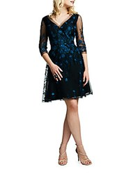 Kay Unger Embroidered Tulle Fit And Flare Cocktail Dress Black Multicolor