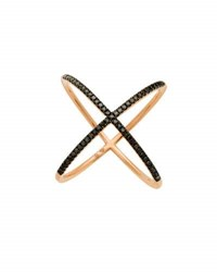Casa Reale 14K Rose Gold Black Diamond Crisscross Ring