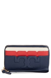 Tory Burch Women's Scallop Leather Smartphone Wallet Blue Royal Nvy Chy Apple New Ivry