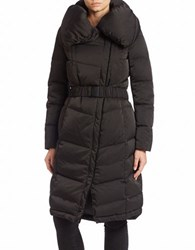 Vera Wang Eva Zip Front Puffer Coat Black