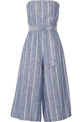 Alice Olivia Lucie Pinstriped Linen And Cotton Blend Jumpsuit Sky Blue