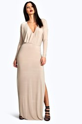 Boohoo Slinky Plunge Neck Long Sleeve Maxi Dress Stone