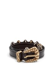 Etro Buckle Embellished Leather Waist Belt Black