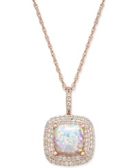Macy's Lab Created Opal 1 3 8 Ct. T.W. And White Sapphire 1 3 Ct. T.W. Pendant Necklace In 14K Rose Gold Plated Sterling Silver