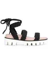 Red Valentino Lace Up Sandals Women Cotton Leather Rubber 40 Black