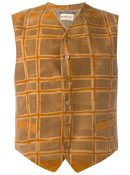 Romeo Gigli Vintage Checked Waistcoat Yellow And Orange