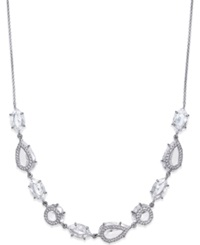 Eliot Danori Rhodium Plated Crystal Frontal Necklace Silver