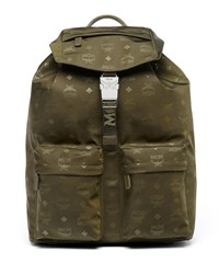 Mcm Dieter Monogramed Canvas Backpack Green