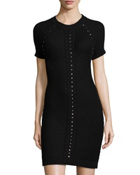Philosophy Studded Short Sleeve Sweaterdress Blackbird