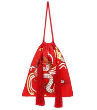 Attico Sequined Dragon Tassel Pouch Red