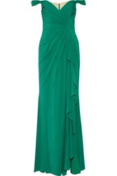 Badgley Mischka Draped Off The Shoulder Silk Chiffon Gown Jade