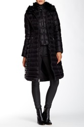 Dawn Levy Genuine Fox Fur Trimmed Down Maxi Jacket Black