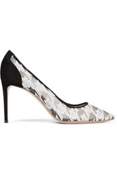 Nicholas Kirkwood Angie Houndstooth Embroidered Mesh And Suede Pumps White
