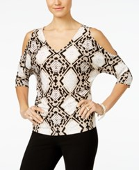 Inc International Concepts Printed Cold Shoulder Blouse Only At Macy's Snake Stain