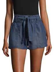 Design Lab Lord And Taylor Belted Lyocell Shorts Medium Wash